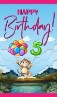 Carte d'anniversaire avec singe et ballons