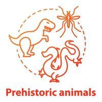 icône de concept d'animaux préhistoriques. recherches paléontologiques. étude des animaux disparus et mythiques. théorie de l'évolution vecteur isolé contour rvb dessin en couleur