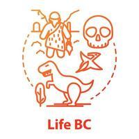 icône de concept de vie bc. recherches paléontologiques. étudier le développement de la vie sur la planète. théorie de l'évolution. dessin de couleur rvb contour isolé vecteur