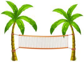 Filet de volleyball sur cocotiers vecteur