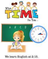 Une fille apprend l'anglais à 2:15
