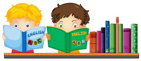 Enfants lisant un livre anglais vecteur