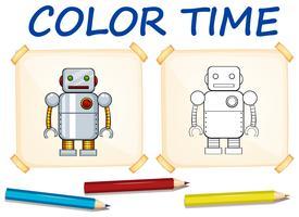 Modèle de coloration avec robot jouet vecteur