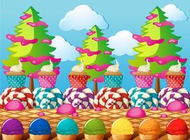 Scène avec cupcakes et glace sur le terrain