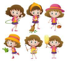 Fille faisant six activités différentes