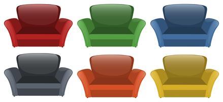 Canapé en six couleurs différentes