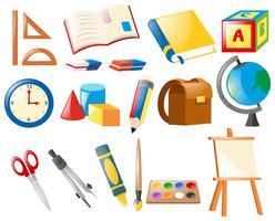 Ensemble d'objets d'école