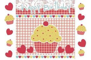 Joyeux anniversaire, cupcake, vecteur, papier peint, paquet