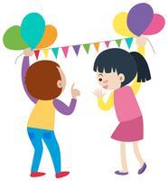 Garçon et fille mettant en place des ballons vecteur