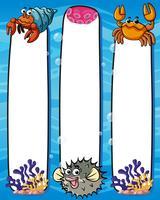 Modèle de papier avec des animaux marins vecteur