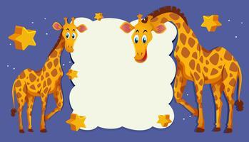 Modèle de frontière avec deux girafes dans la nuit vecteur