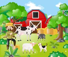 Fermier et animaux de la ferme dans le champ vecteur