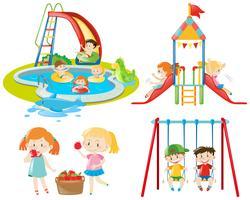 Beaucoup d'enfants jouent sur l'aire de jeu et dans la piscine