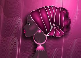 coiffure afro, beau portrait de femme africaine en turban rouge en tissu imprimé wax, concept de diversité. reine noire, cravate ethnique pour tresses afro et cheveux bouclés crépus. fond rose de mode de vecteur