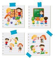 Enfants faisant différentes activités ensemble