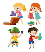 Garçons et filles dans différentes actions