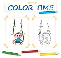 Modèle de coloration avec singe mignon