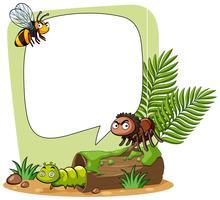 Modèle de frontière avec des insectes dans le parc vecteur