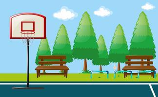Scène de parc avec terrain de basket vecteur