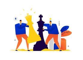 illustration d'hommes d'affaires jouant aux échecs. concurrence dans les affaires. découvrir la relation dans les affaires. échec et mat, le résultat est une victoire sur l'adversaire. vecteur