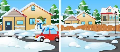 Scène de quartier avec de la neige sur le sol