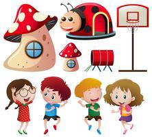 Enfants et différentes stations de jeux