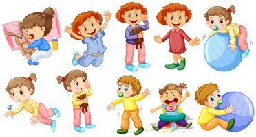 Bébés filles et garçons faisant différentes activités vecteur