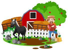 Fermier et cheval à la ferme
