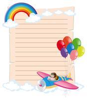 Modèle de papier avec kid dans l'avion