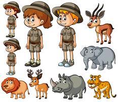 Enfants en tenue de safari et nombreux animaux sauvages vecteur