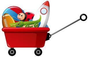 Jouets dans un wagon rouge