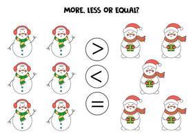 plus, moins, égal avec les bonhommes de neige de Noël. comparaison mathématique. vecteur