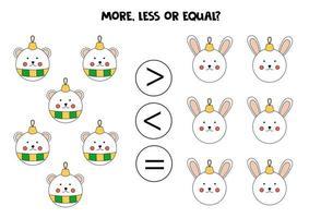 plus, moins, égal avec des boules de Noël. comparaison mathématique. vecteur