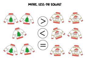 plus, moins, égal avec des pulls de Noël. comparaison mathématique. vecteur