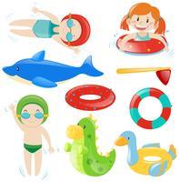 Set de natation avec nageurs et équipement vecteur