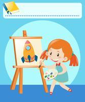 Fille, dessin, sur, toile, dans salle