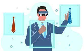 un jeune homme portant des lunettes de réalité virtuelle essaie une cravate. achats en ligne du futur. illustration vectorielle plane. vecteur