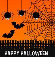 Affiche d'halloween heureux avec araignées et web vecteur