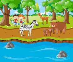 Enfants et animaux au bord de la rivière vecteur