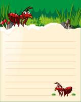 Modèle de papier avec deux fourmis rouges vecteur