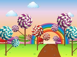 Scène avec champ de bonbons vecteur