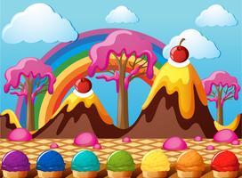 Terre de bonbons avec montagnes de chocolat et champ de crème glacée