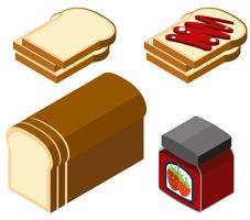 Conception 3D pour pain et confiture de fraises