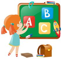 Petite fille affichant des alphabets anglais à bord vecteur