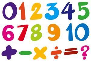 Conception de police pour les chiffres et les couleurs de signe vecteur