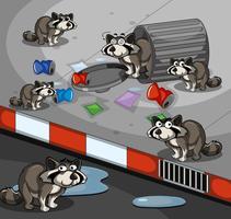 Beaucoup de ratons laveurs cherchant des ordures au bord de la route vecteur