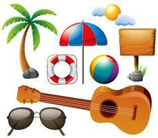Set d'été avec guitare et autres éléments vecteur