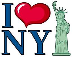 J'aime la conception d'affiche de la ville de New York vecteur