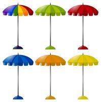 Parapluie en six couleurs différentes vecteur
