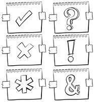 Différents signes sur du papier brouillon